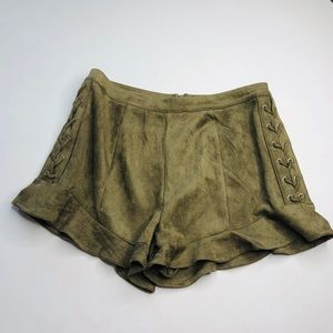 VERY J SuedeFeel Laceup Olive Green Shorts Culotte